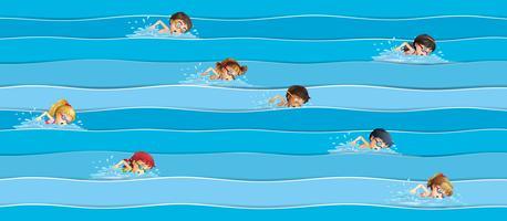 I bambini nella gara di nuoto vettore