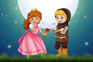 Principessa e cavaliere nel campo vettore