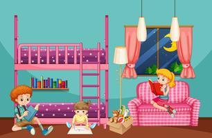 Bambini che leggono e disegnano nella camera da letto