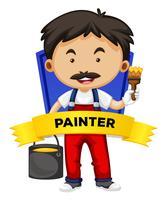 Wordcard di occupazione con il pittore
