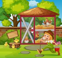 Agricoltore che alimenta i polli nella gabbia vettore