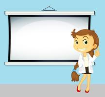 Medico e schermo bianco sul muro