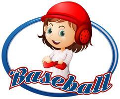 Disegno del logo di baseball con il giocatore della ragazza