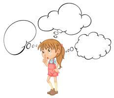 Bambina con modello di bolla di discorso