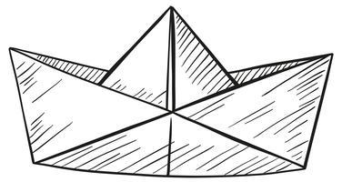 Doodle di barca di carta vettore