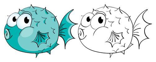 Profilo animale per pesce palla vettore