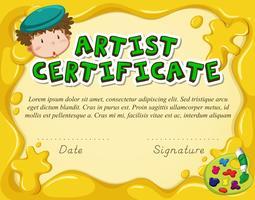 Modello di certificato per artista