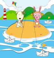 Cane e coniglio che pescano sull'isola vettore
