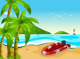 Gommone sulla spiaggia vettore
