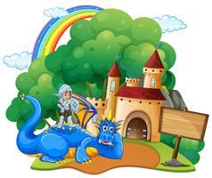 Scena del castello con cavaliere e drago vettore