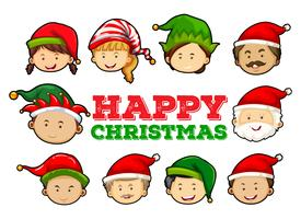 Cartolina di Natale con persone che indossano cappelli da festa