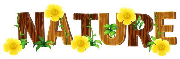 Progettazione di carattere per natura parola con fiori gialli vettore