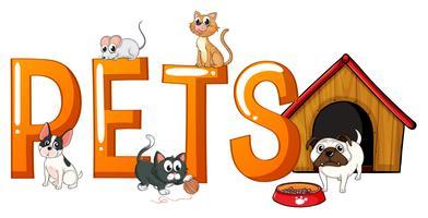 Disegno di carattere con animali domestici di parola vettore