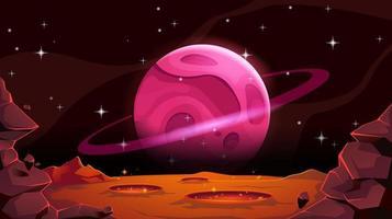 paesaggio di Marte con pianeta alieno nel cosmo. deserto rosso vuoto con pozzi e crateri. illustrazione del fumetto di vettore. vettore