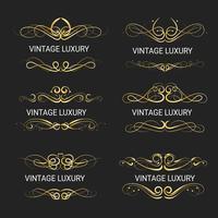Cornice decorativa in oro. Modelli vintage vettore