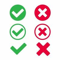 segni di spunta icona segni illustrazione vettoriale set. sì o no, giusto e sbagliato, nel cerchio e senza di esso, segno di spunta e croce, ok o x versione di design piatto dei pulsanti del segno di spunta