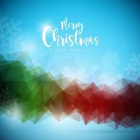Illustrazione del buon anno e di Buon Natale sopra con tipografia su fondo astratto. Disegno vettoriale EPS 10.