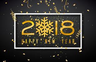 Illustrazione del buon anno 2018 con il numero dell'oro e fiocco di neve brillato su fondo nero. Vector Holiday Design