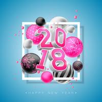 Illustrazione 2018 del buon anno con il numero luminoso 3d e palla ornamentale su fondo blu. Vector Holiday Design