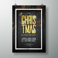 Modello di disegno di Poster di festa di buon Natale di vettore con elementi di tipografia di vacanza e luce splendente su sfondo scuro.