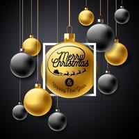 Illustrazione vettoriale di buon Natale con elementi di palla e tipografia di vetro oro su sfondo nero. Holiday Design per Premium Greeting Card, Party Invitation o Promo Banner.