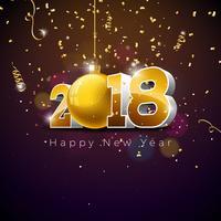 Vector l'illustrazione 2018 del buon anno sul fondo brillante di illuminazione con progettazione di tipografia.