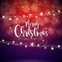 Illustrazione di buon Natale vettoriale su sfondo rosso lucido con la tipografia e la ghirlanda di luce natalizia. Felice anno nuovo design.