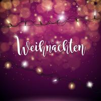 Vector l'illustrazione di Natale con la tipografia tedesca di Frohe Weihnachten e la ghirlanda leggera di festa su fondo rosso brillante.