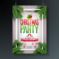 Progettazione di Flyer di festa di Natale di vettore con elementi tipografia vacanza e palla ornamentale, ramo di pino su sfondo chiaro lucido