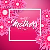 Happy Mothers Day Greeting card con fiore su sfondo rosa. Modello di illustrazione celebrazione vettoriale con design tipografico per banner, flyer, invito, brochure, poster.
