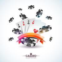 Vector l'illustrazione su un tema del casinò con le carte della mazza e giocando i chip su fondo bianco. Progettazione di giochi d'azzardo per invito o banner promozionale.