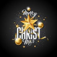 Illustrazione vettoriale di buon Natale con la palla di vetro oro, stella di carta del ritaglio e elementi di tipografia su sfondo nero. Design delle vacanze