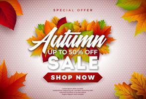 Autumn Sale Design con foglie che cadono e scritte su sfondo chiaro. Illustrazione vettoriale autunnale con elementi di tipografia offerta speciale per coupon