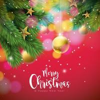 Illustrazione vettoriale di buon Natale con palle ornamentali e ramo di pino su sfondo rosso lucido. Disegno di tipografia di felice anno nuovo per biglietto di auguri, poster, banner.