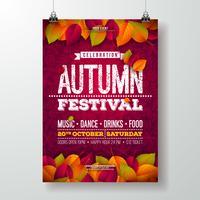 L'illustrazione dell'aletta di filatoio del partito di autunno con le foglie cadenti e la tipografia progettano sul fondo del modello di scarabocchio. Vector Design autunnale autunno Festival per invito o poster celebrazione di vacanza.