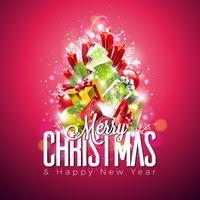 Illustrazione vettoriale di buon Natale su sfondo rosso lucido con tipografia e Holiday Light Ghirlanda, ramo di pino, fiocchi di neve e palla ornamentale. Felice anno nuovo design.