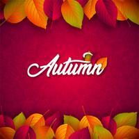 Illustrazione di autunno con foglie che cadono e scritte su sfondo rosso. Disegno vettoriale autunnale con Doodles disegnati a mano per biglietto di auguri, banner, flyer, invito, brochure o poster promozionale.