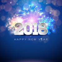 Felice anno nuovo 2018 illustrazione con fuochi d'artificio e testo 3d su sfondo blu lucido. Vettore ENV 10.