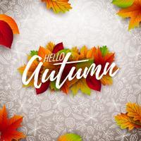 Illustrazione di autunno con le foglie cadenti e l'iscrizione su fondo bianco. Disegno vettoriale autunnale con Doodles disegnati a mano per biglietto di auguri, banner, flyer, invito, brochure o poster promozionale.