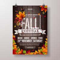 L'illustrazione dell'aletta di filatoio del partito di autunno con le foglie cadenti e la tipografia progettano su fondo di legno d'annata. Vector autunnale Fall Festival Desig