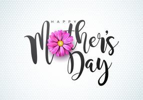 Illustrazione felice della cartolina d'auguri di festa della Mamma