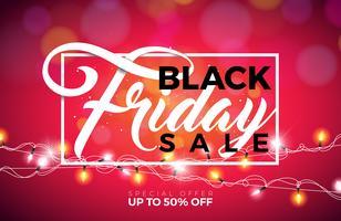 Illustrazione di vettore di vendita di Black Friday con la ghirlanda di illuminazione su fondo brillante. Modello di design della promozione per banner o poster.