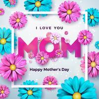 Happy Mothers Day Greeting card design con fiore ed elementi tipografici su sfondo pulito. Ti amo modello di illustrazione vettoriale celebrazione di mamma per banner, flyer, invito, brochure, poster.