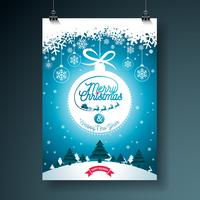 L'illustrazione di Buon Natale con tipografia e decorazione dell'ornamento sul paesaggio del paesaggio dell'inverno. Disegno di volantino o poster di vacanze di Natale di vettore.