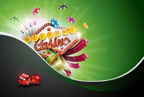 Illustrazione del casinò con le carte della mazza e giocare i chip su fondo verde. Disegno di gioco d'azzardo vettoriale per invito o banner promozionale con dadi.