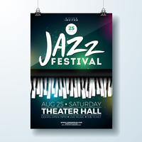 Design di Flyer Jazz Music Festival con tastiera di pianoforte su sfondo scuro. Modello di illustrazione vettoriale partito per invito Poste