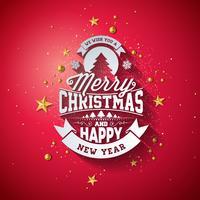 Illustrazione di tipografia di Buon Natale con elemento di vacanza 3d e lunga ombra su sfondo rosso lucido. Disegno vettoriale per biglietto di auguri, poster di invito a una festa o banner promozionale.