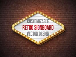 Vector la retro insegna o illustrazione del lightbox con progettazione personalizzabile sul fondo del muro di mattoni. Banner luminoso o cartellone luminoso vintage per la pubblicità o il tuo progetto