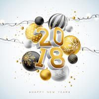 Un'illustrazione di 2018 buoni anni con il numero dell'oro 3d, la ghirlanda leggera e la palla ornamentale su fondo bianco. Vector Holiday Design per Premium Greeting Card, Party Invitation o Promo Banner.