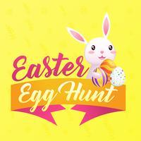 Biglietto di auguri di Pasqua con posto per testo e coniglio